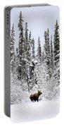 Moose In Deep Snow, Near Teslin, Yukon Portable Battery Charger