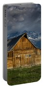 Mormon Barn Under Approaching Storm Portable Battery Charger