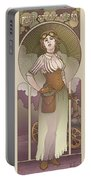 Mucha Inspired Steam Maiden Print Portable Battery Charger by Dani Kaulakis