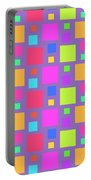 Multicoloured Squares Portable Battery Charger by Louisa Knight