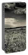 Nebraska Prairie Two In Black And White Portable Battery Charger