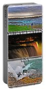 Niagara Falls Usa Triptych Series With Text Portable Battery Charger