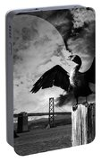Night Of The Cormorant . Black And White Portable Battery Charger
