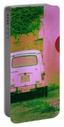 No Parking Sign With Pink Car Portable Battery Charger