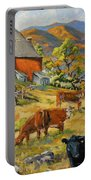 Nostalgia Cows Painting By Prankearts Portable Battery Charger