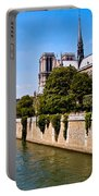Notre Dame Cathedral Along The Seine River Portable Battery Charger