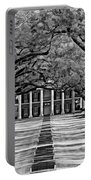 Oak Alley Monochrome Portable Battery Charger by Steve Harrington