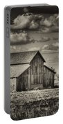 Old Barn After The Storm Black And White Portable Battery Charger