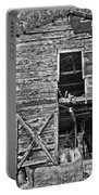 Old Barn Door In Black And White Portable Battery Charger