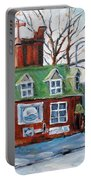 Old Corner Store Montreal By Prankearts Portable Battery Charger