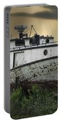 Old Fishing Boat On Shore With Storm Moving In Portable Battery Charger