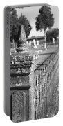 Old Graveyard Fence In Black And White Portable Battery Charger