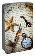 Old Letter With Pen And Starfish Portable Battery Charger