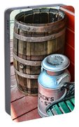 Old Milk Cans And Rain Barrel. Portable Battery Charger