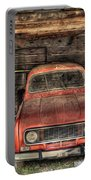 Old Red Car In A Wood Garage Portable Battery Charger