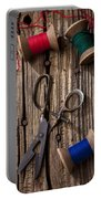 Old Scissors And Spools Of Thread Portable Battery Charger by Garry Gay