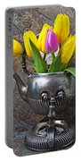 Old Tea Pot And Tulips Portable Battery Charger