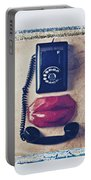 Old Telephone And Red Lips Portable Battery Charger
