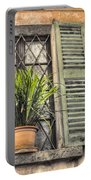 Old Window And A Green Plant Portable Battery Charger