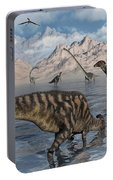 Omeisaurus And Parasaurolphus Dinosaurs Portable Battery Charger