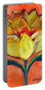 One Yellow Flower And Pinky Peach Behind Portable Battery Charger