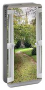 Open Window To A Church Garden Portable Battery Charger