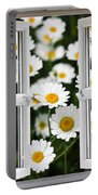 Open Windows Onto Large Daisies Portable Battery Charger