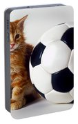 Orange And White Kitten With Soccor Ball Portable Battery Charger