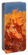 Orange Autumn Leaves Art Prints Blue Sky Portable Battery Charger