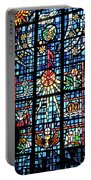 Orange Blue Stained Glass Window Portable Battery Charger by Thomas Woolworth