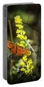 Orange Butterfly On Yellow Wildflower Portable Battery Charger