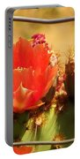 Orange Cactus Flower With Fence Portable Battery Charger