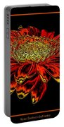Orange Gerbera Daisy With Chrome Effect Portable Battery Charger
