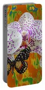 Orchids With Speckled Butterfly Portable Battery Charger
