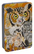 Owl In The Fall Portable Battery Charger
