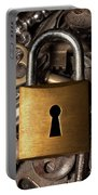Padlock Over Keys Portable Battery Charger by Carlos Caetano