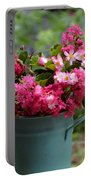 Painted Bucket Of Flowers Portable Battery Charger