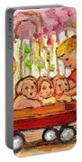 Paintings For Children - Boy - Girl - Red Wagon And Puppies Portable Battery Charger