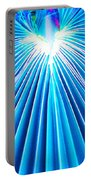 Palm Frond In Blue Portable Battery Charger