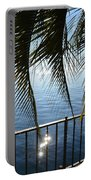 Palm Leaves On A Foggy Lake Portable Battery Charger