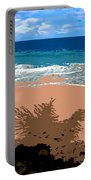 Palm Shadow On The Beach Portable Battery Charger