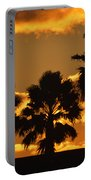 Palm Trees In Sunrise Portable Battery Charger by Susanne Van Hulst