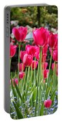 Panel Of Pink Tulips Portable Battery Charger
