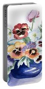 Pansies In Blue Pot Portable Battery Charger