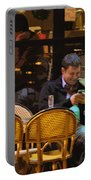 Paris At Night In The Cafe Portable Battery Charger
