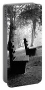 Park Bench In Black And White Portable Battery Charger