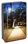 Park Path At Night Portable Battery Charger