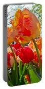 Parrot Tulips In Philadelphia Portable Battery Charger by Mother Nature