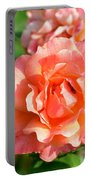 Peach And Yellow Ruffled Portable Battery Charger