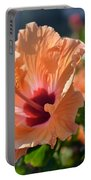 Peach Hibiscus Portable Battery Charger